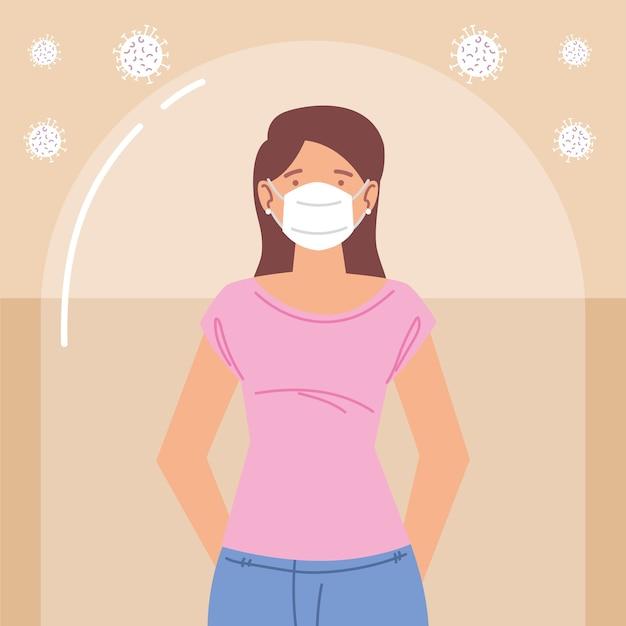 Junge frau mit maske während coronavirus covid 19