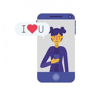 Junge frau mit smartphone und sprechblase