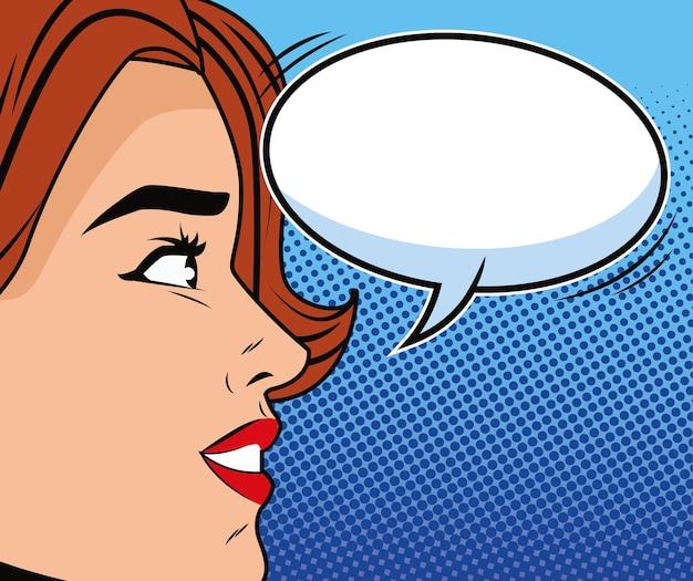 Junge frau mit sprechblasencharakter-pop-art-stil