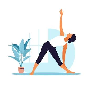 Junge frau praktiziert yoga. körperliche und geistige praxis.