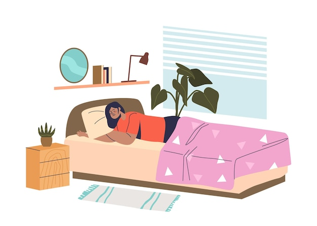 Junge frau schläft im bett im schlafzimmer müde nach der arbeit und träumt nachts tief. schläfrige frau mit decke bedeckt. flache vektorillustration der karikatur