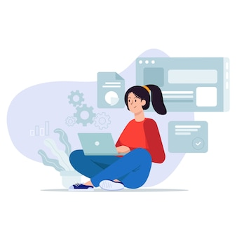 Junge frau sitzend entspannen sie sich auf dem boden, der mit einer laptop-illustration arbeitet