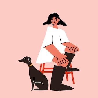 Junge frau sitzt auf dem hocker mit hund whippet modernes konzept illustration konzeptkunst cartoon