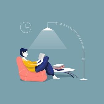 Junge frau sitzt auf sitzsack studierend, mädchen entspannt liest ein buch.