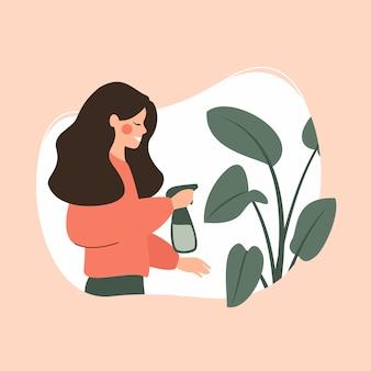 Junge frau sprüht eingemachte grünpflanze. grünes vektorkonzept der häuslichen pflanzenpflege