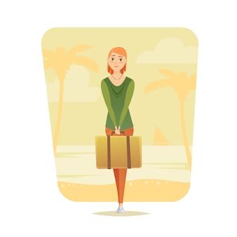 Junge frau stehen mit koffer. junges mädchen reisender. abenteuerreisen. sommerurlaub. auf der ganzen welt. cartoon-stil. illustration.