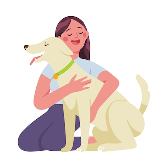 Junge frau umarmt ihren hund liebevoll