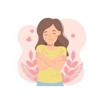Junge frau umarmt sich. selbstliebeskonzept. hohes selbstwertgefühl. flacher cartoon.
