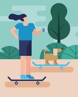Junge frau und hund in skateboards, die aktivitätscharakter üben