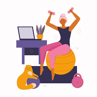 Junge frau und katze verbringen zeit zusammen und machen fitness zu hause. bleiben sie zu hause in quarantäne.