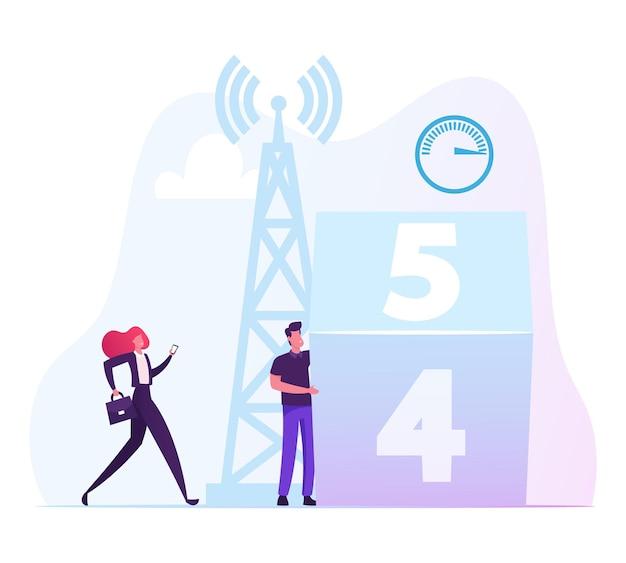 Junge frau und mann, die handy für smartphones verwenden, stehen nahe sendungsturm. karikatur flache illustration