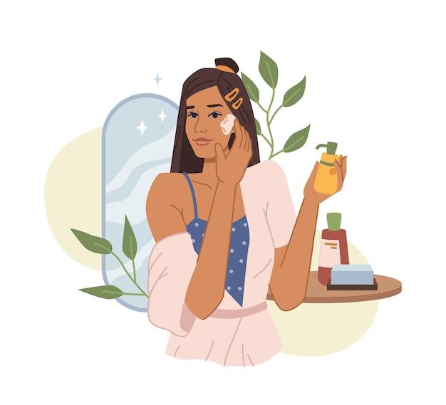 Junge frau verwendet wesentliche kosmetik, natürliche creme oder öl, reinigt die gesichtshaut flach cartoon