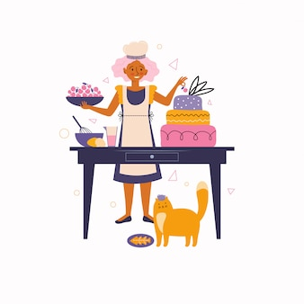 Junge frau verziert einen kuchen mit kirschen. backen und kochen zu hause. lieblingsbeschäftigungen zu hause. zeit zu hause verbringen