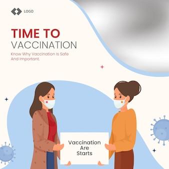 Junge frauen, die brett oder papier der impfung halten, beginnen mit dem tragen von schutzmasken