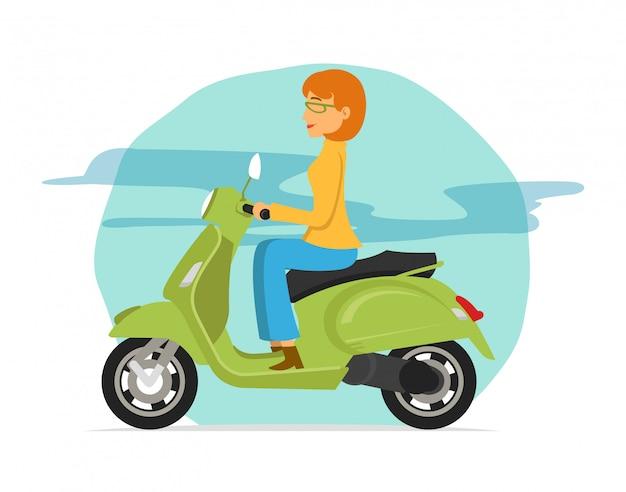 Junge frauen, die grünes rollermotorrad fahren