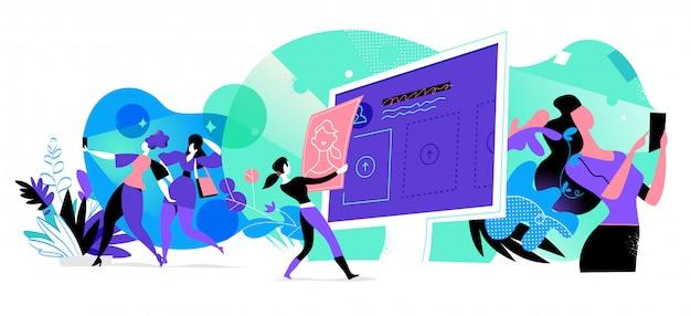 Junge frauen, die mit digitalen geräten interagieren