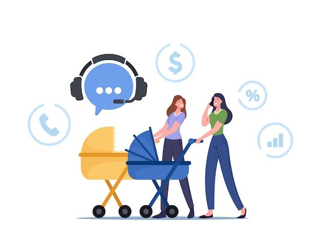 Junge frauen, die mit kinderwagen spazieren gehen, rufen den kundendienst oder den telemarketing-shop an, um waren zu bestellen. weibliche charaktere entferntes einkaufen, einkaufen. cartoon-menschen-vektor-illustration