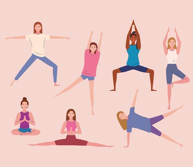 Junge frauen, die yoga praktizieren