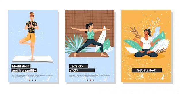 Junge frauen, die yoga üben.