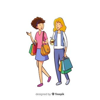 Junge frauen gehen einkaufen