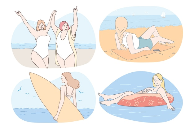 Junge frauen im bikini sonnenbaden schwimmen surfen entspannen und urlaub genießen