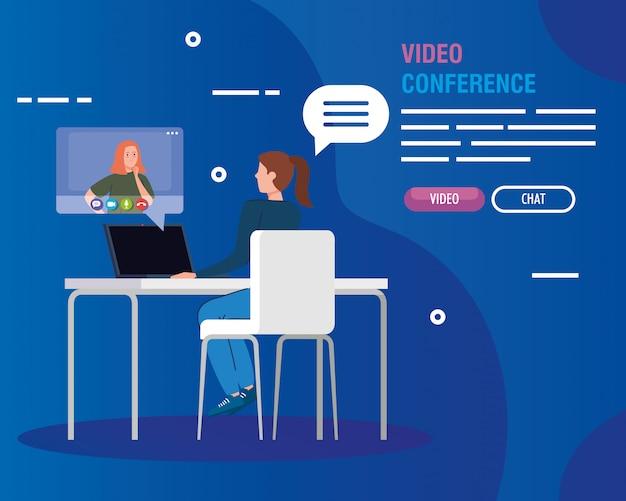 Junge frauen in der videokonferenz