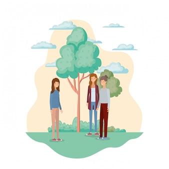 Junge frauen in landschaft mit bäumen und pflanzen