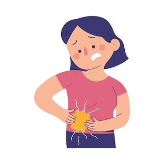 Junge frauen leiden unter schmerzen im rechten unteren bauchbereich aufgrund von blinddarmentzündungsschmerzen