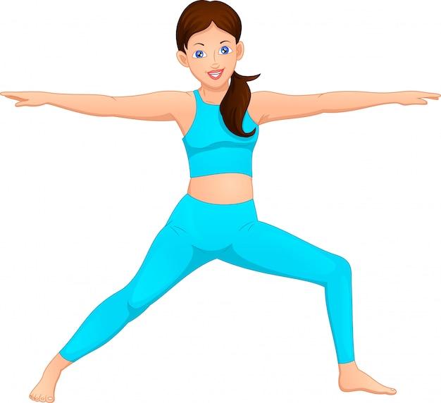 Junge frauen machen yoga-übungen