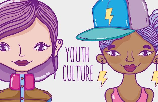 Junge frauen mit modernem frisur- und zubehörvektorillustrations-grafikdesign