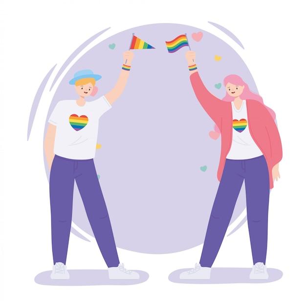 Junge frauen mit regenbogenfahnen und herzen