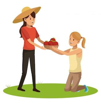 Junge frauen mit tomatenernte