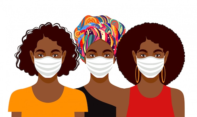 Junge frauen tragen schutzmasken
