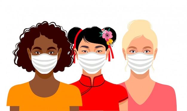 Junge frauen tragen schutzmasken Premium Vektoren