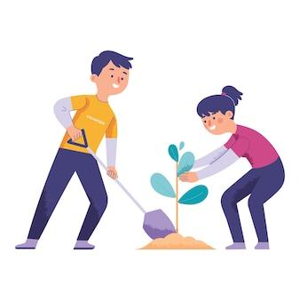 Junge frauen und männer als freiwillige, um bäume als natürliches grün zu pflanzen