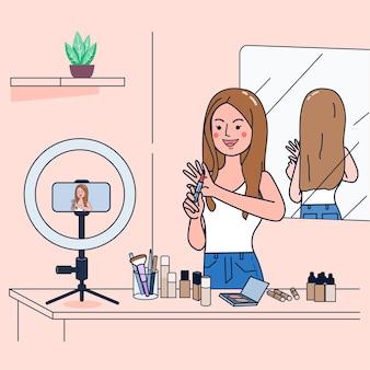 Junge frauen verkaufen kosmetika über social-media-kanäle für zusätzliches einkommen. verwenden einer kamera zum streamen von videos. flache illustration desig