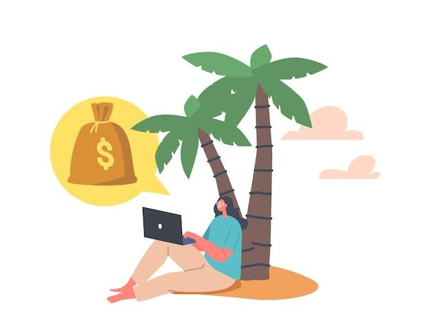 Junge freiberufler-charakter, die unter palme sitzen und informationen über laptop lesen, freiheit und passives einkommen im tropical beach resort genießen. verdienen im internet-traum. cartoon-vektor-illustration