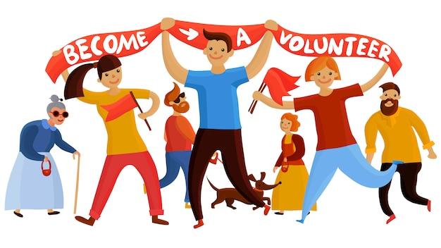 Junge freiwillige enthusiasten zusammensetzung