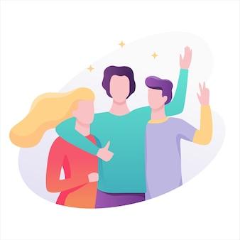 Junge freunde stehen zusammen. idee von freundschaft und frieden. illustration mit stil