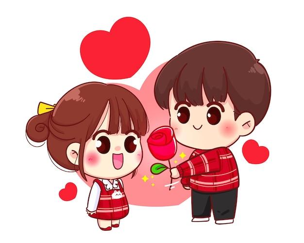 Junge geben blume mädchen süßes paar, glücklichen valentinstag, zeichentrickfigur illustration Premium Vektoren