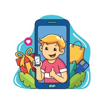 Junge genießen online-shopping mit smartphone