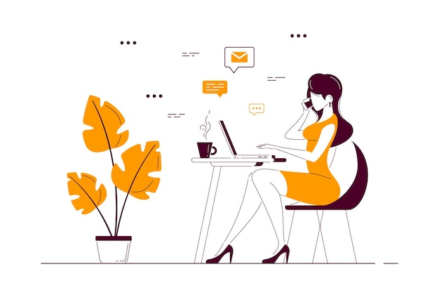 Junge geschäftsdame, die am laptop am schreibtisch im büro arbeitet. flache art strichzeichnungen illustration