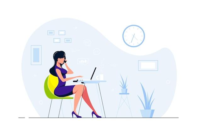 Junge geschäftsdame, die am laptop am schreibtisch im büro arbeitet. flache artillustration