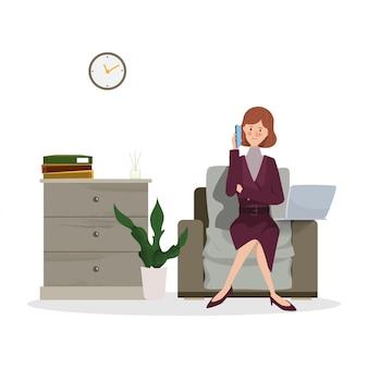 Junge geschäftsfrau, die an laptop arbeitet. hand gezeichnete charakterleute, die jobdesign bearbeiten.
