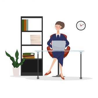 Junge geschäftsfrau, die an laptop im büro arbeitet. hand gezeichnete leute mit jobdesign.