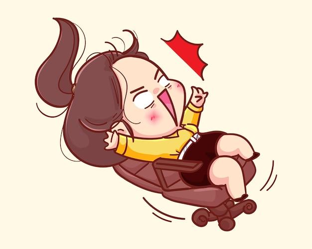 Junge geschäftsfrau, die auf stuhlkarikaturillustration rollt