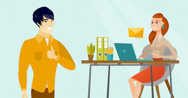 Junge geschäftsfrau, die e-mail empfängt oder sendet.