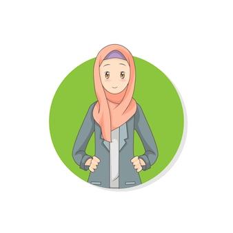 Junge geschäftsfrau, die hijab schleiercharakter-logoikone trägt