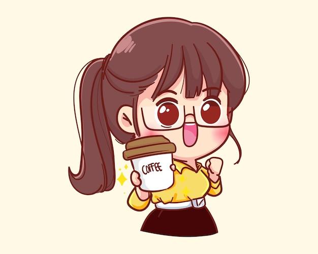 Junge geschäftsfrau, die kaffeetassekarikaturillustration hält