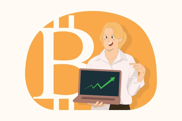 Junge geschäftsfrau, die mit dem zeigefinger auf die digitale währung des laptop-pc-computers zeigt, bitcoin-konzept